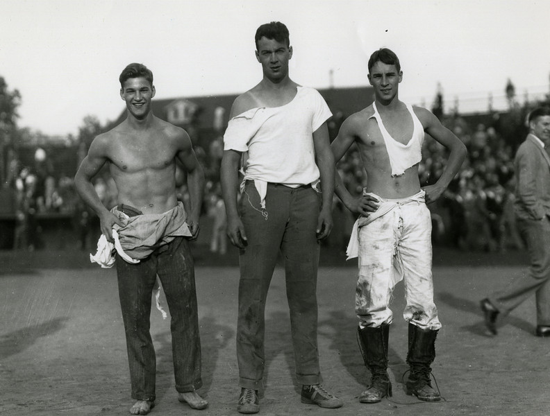 Three students after Cane Rush event, 1929