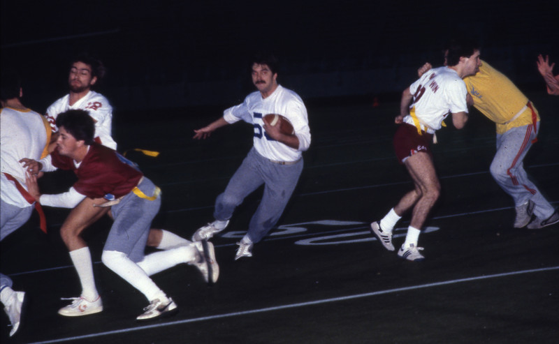 Students playing flag football, 1982