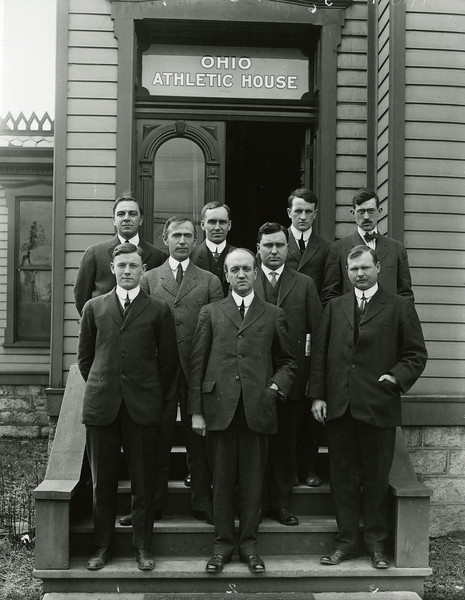 Men in front of the old OSU Athletic House, 1913; X5766
