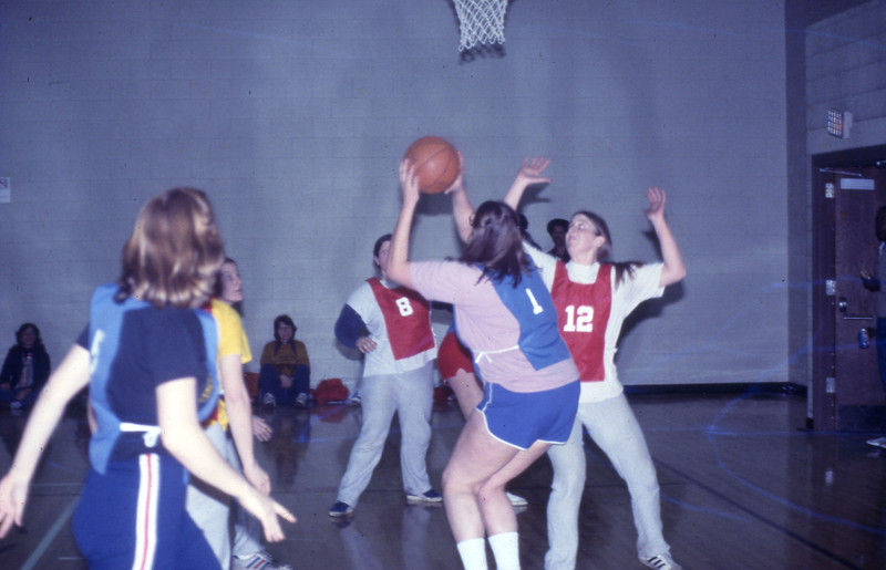 Students playing recreational basketball, 1978
