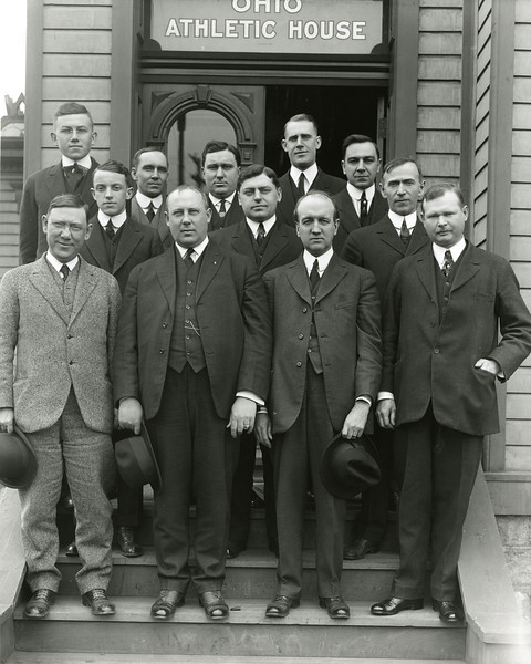 Group in front of the old Ohio Athletic House, 1914; X5766