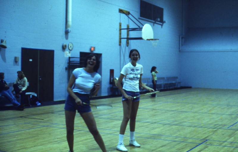 Intramural Sports, students playing badminton on an indoor court, 1978
