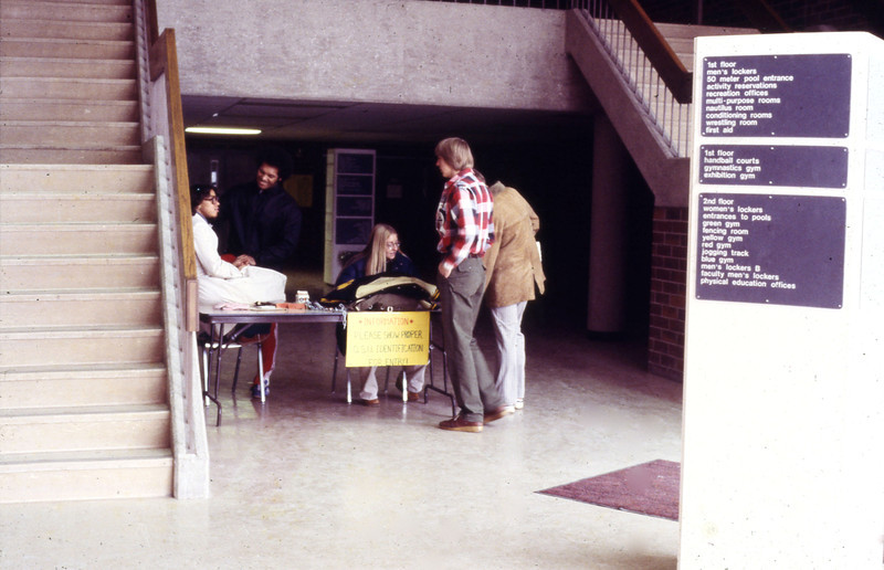 Student sports activity sign up in Larkins Hall, 1978