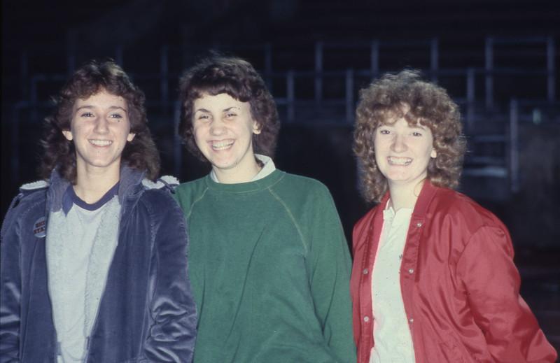 Three students at a flag football game, 1982