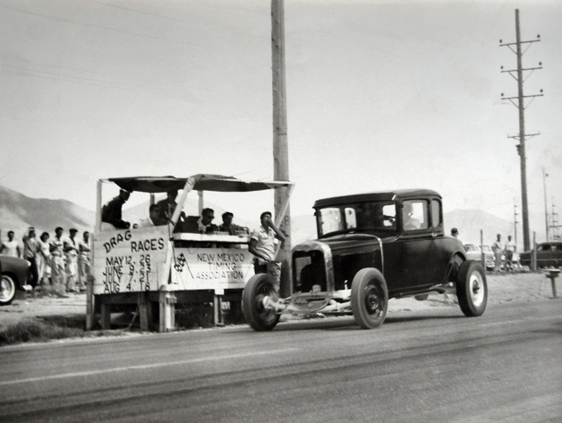 As Early as 1950 the New Mexico Timing Assoc. held organized Drag racing out at South Eubank!  This Pic was taken in 1954