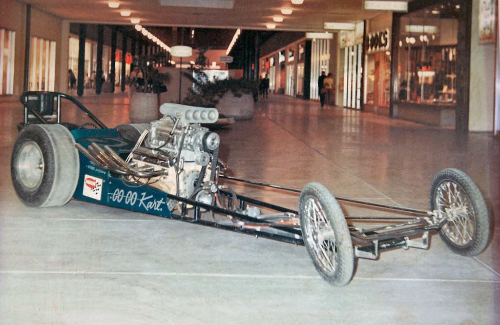 Lyle Dill's AA/FD Dragster the Go-Go Cart driven by Bob Pavioni  on Display at Winrock Mall in 1967-68?