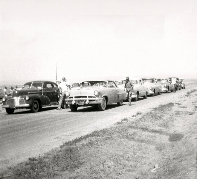 Cars waiting to make a run at South Eubank 1952-53?  Car on the Front Row left is owned by Paul Greenberg!