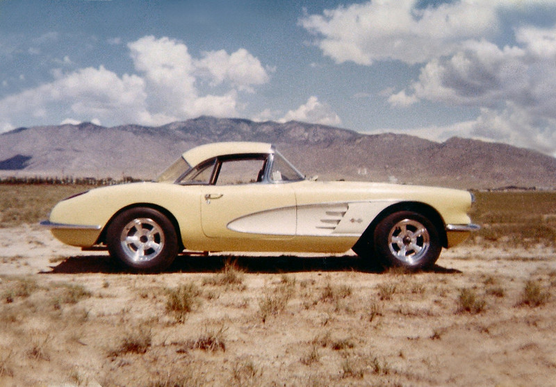 "Some guy's Nice Corvette, notice the ""U"" Mountain in the background!  The ""U"" Mountain is located by Tramway and I-40."