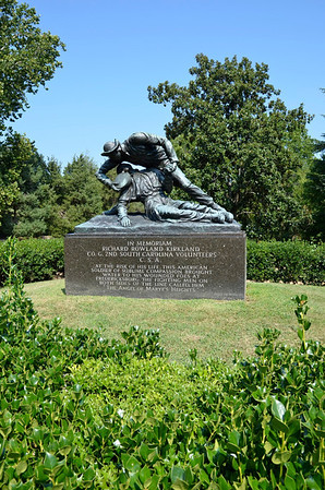 Monument to Richard Rowland Kirkland, of the 2nd South Carolina Volunteers.  Monument Reads: At the risk of his life, this American Soldier of sublime compassion brought water to his wounded foes at Fredericksburg. The fighting men on both sides of the line called him, The Angel of Marye's Heights.