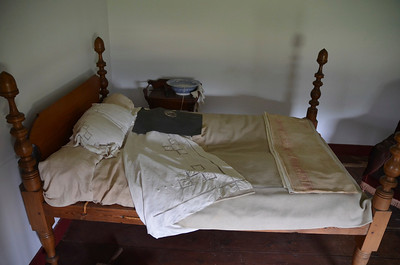 This bed is the actual bed frame that Gen. Stonewall Jackson was being treated on while he waited to be evacuated  to Richmond. He contracted pneumonia and died 8 days after having his left are amputated. The blanket at the foot of the bed is the actual blanket that was used to cover the General. There is also a clock that is original from that time, and it still works sitting on a mantle across the room.