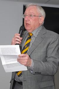 Dennis Bennett (Secretary of Newport RFC) introduces inductee Walter Martin