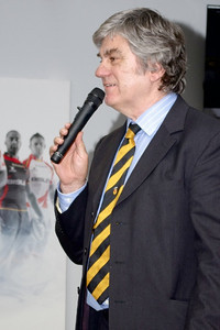 Will Godfrey, chairman of Newport RFC, welcomes everyone.