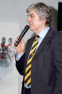 Will Godfrey, chairman of Newport RFC, welcomes everyone.