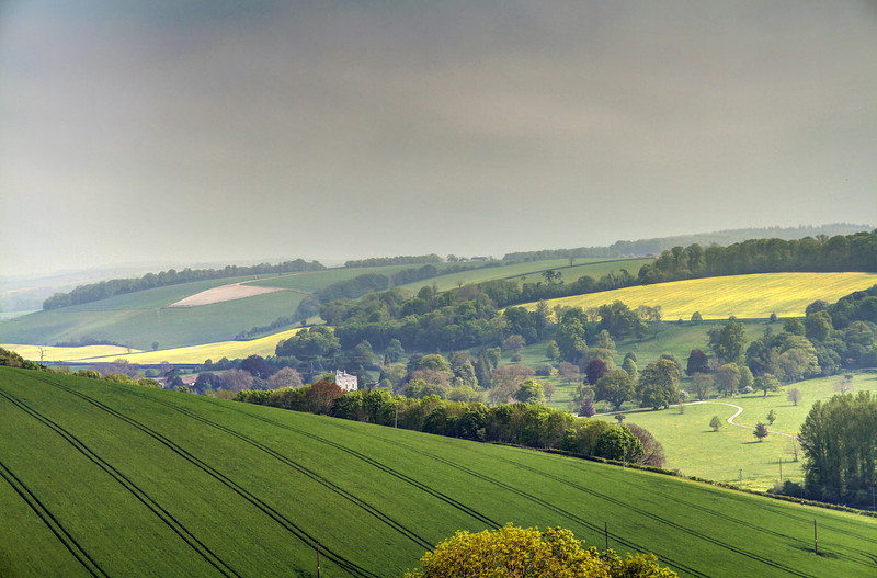 Looking to the North East from Hod Hill.   Stepleton House and park are just visible in the valley.