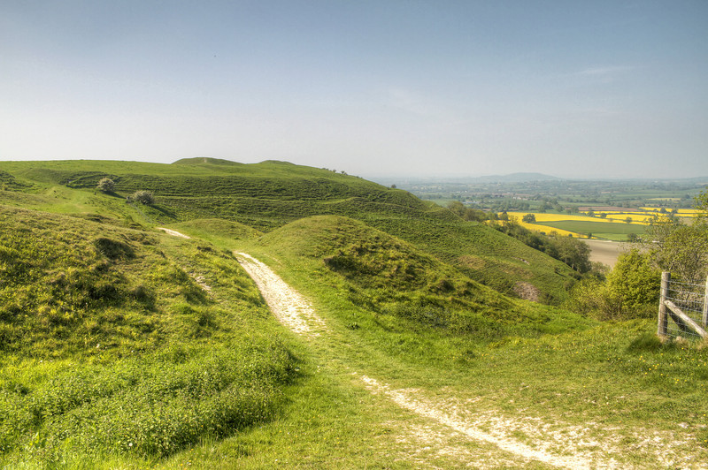 Hambledon Hill showing the intricate amparts which would have made it a formidably defended fortress.<br /> It is thought to have been abandoned around 300 years BC in favour of nearby Hod Hill.