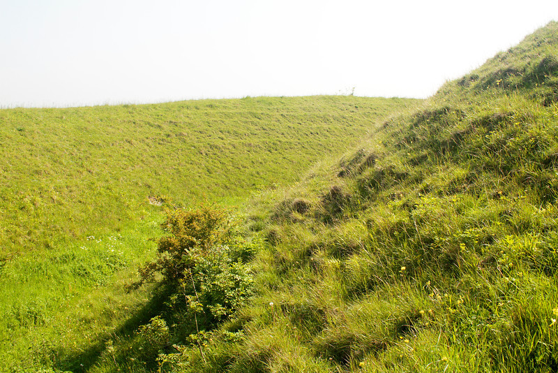 Ramparts round the Hod Hill iron age hill fort.