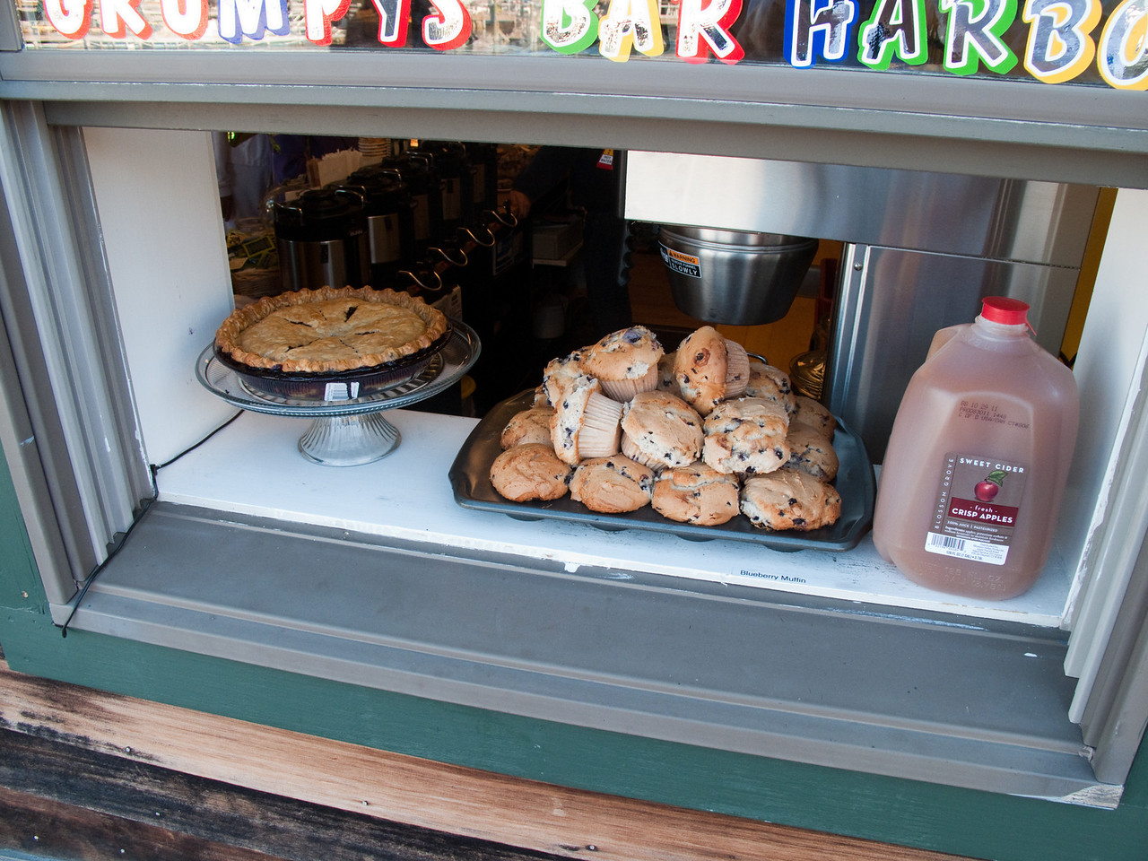 Open window on fresh cooked blueberry pie and blueberry muffins in Bar Harbor