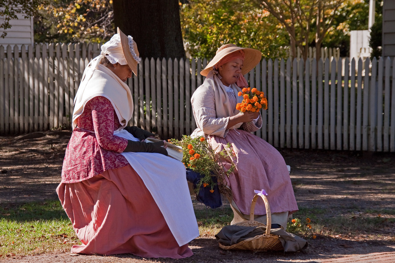 In Colonial period garb.  What is the conversation and thoughts?