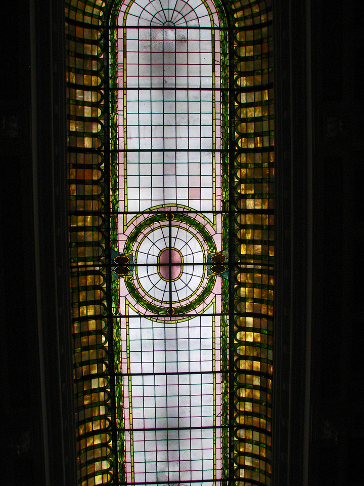 Real Tiffinay glass is the ceiling of a bank in Staunton, Virginia