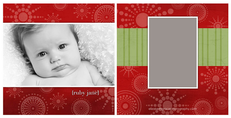 Show off your beautiful family in style with a custom holiday card from elizabeth grace photography!  If you're looking for the ultimate in holiday greeting design, a tri-fold card is the way to go!  Not only does a tri-fold design provide you with additional space for showing off your favorite images from your session (tri-fold card designs include six panels, where flat cards include two panels), you can opt to leave the back panel blank for personal notes for for family and friends.  Most card designs in this gallery are shown as flat (two-sided) cards, however the majority of card designs can be easily converted to a tri-fold card if desired.<br /> <br /> Please note that the sample templates shown in this gallery are provided to give you ideas when designing your card.  However, one of the perks of working with a custom photographer is that any card you order will be fully customized for you and your individual design preferences.  Or, if you don't see something you love here, let's design a card together!  There are no costs for creating a new custom card design.<br /> <br /> You will have two rounds of complimentary card reviews where edits can be made to your card design prior to printing (additional reviews are $15 per round).  All cards are printed on fine linen paper and come with white envelopes.  Custom return address labels can be created to perfectly coordinate with your chosen card - a wonderful finishing touch!<br /> <br /> Please reference your price sheet for pricing and minimum orders on cards.
