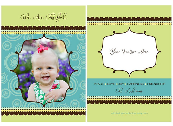 Show off your beautiful family in style with a custom holiday card from elizabeth grace photography! If you're looking for the ultimate in holiday greeting design, a tri-fold card is the way to go! Not only does a tri-fold design provide you with additional space for showing off your favorite images from your session (tri-fold card designs include six panels, where flat cards include two panels), you can opt to leave the back panel blank for personal notes for for family and friends. Most card designs in this gallery are shown as flat (two-sided) cards, however the majority of card designs can be easily converted to a tri-fold card if desired.  <br /> <br /> Please note that the sample templates shown in this gallery are provided to give you ideas when designing your card. However, one of the perks of working with a custom photographer is that any card you order will be fully customized for you and your individual design preferences. Or, if you don't see something you love here, let's design a card together! There are no costs for creating a new custom card design.  <br /> <br /> You will have two rounds of complimentary card reviews where edits can be made to your card design prior to printing (additional reviews are $15 per round). All cards are printed on fine linen paper and come with white envelopes. Custom return address labels can be created to perfectly coordinate with your chosen card - a wonderful finishing touch!  <br /> <br /> Please reference your price sheet for pricing and minimum orders on cards.
