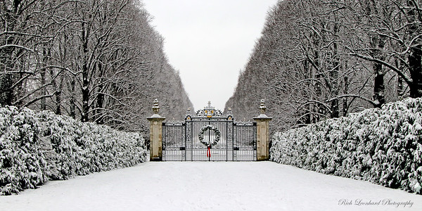 Gate at Old Westbury Gardens with Christmas Wreath and snow.  2017