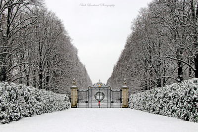 Gate with Christmas Wreath at Old Westbury Gardens. 2017