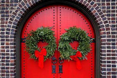 Christmas wreaths on entry doors to Trinity Episcopal Church in Roslyn Harbor,NY.