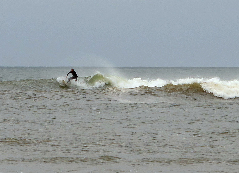 Even a low swell brings out the surfers.