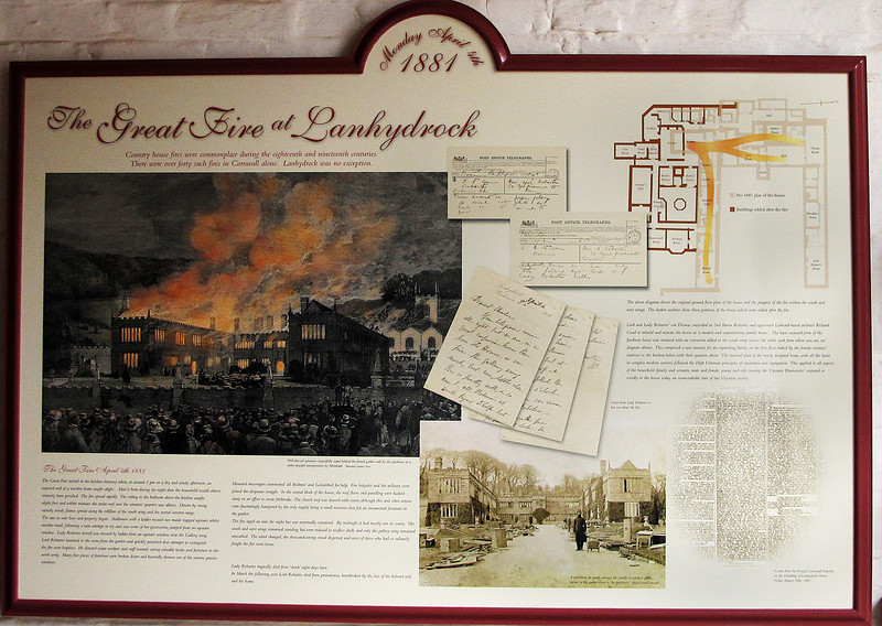 A plaque in the stables tells the story of a fire which ravaged the house in 1881.