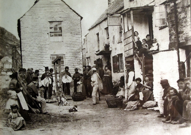 A picture in the Jamaica Inn Museum next to the pub.   It shows Polperro village in about 1890.   The following picture shows a photograph taken of the same scene in 2002.