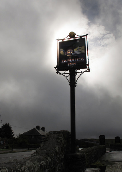 The suitably eerie pub sign on a warm foggy day.