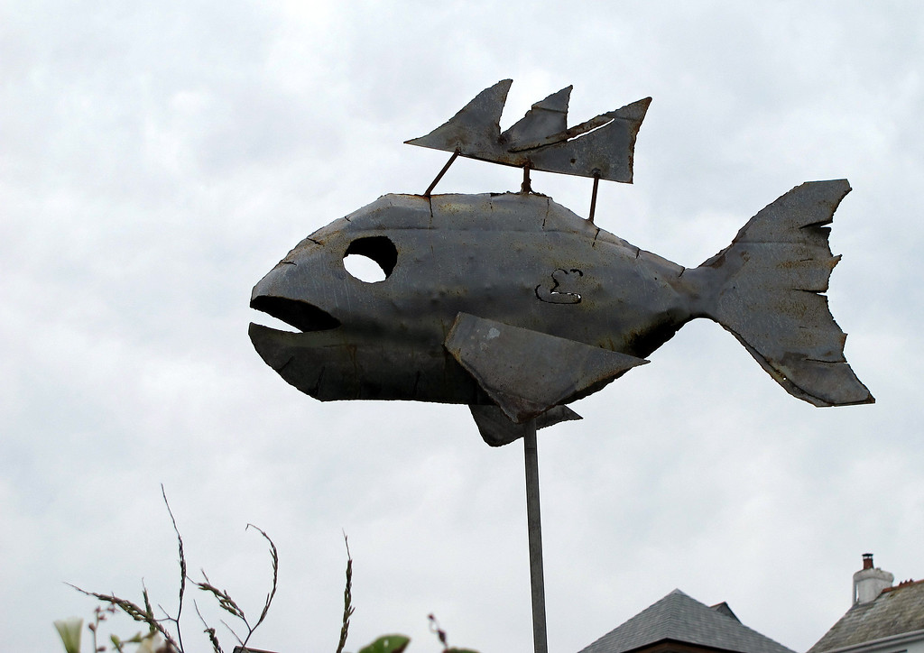 A scrap iron sculpture at Port Isaac.