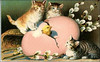free-vintage-easter-clip-art-pink-egg-three-tabby-kittens