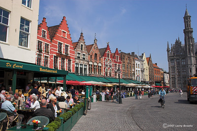 The Market in the city center of Bruges (Belgium)