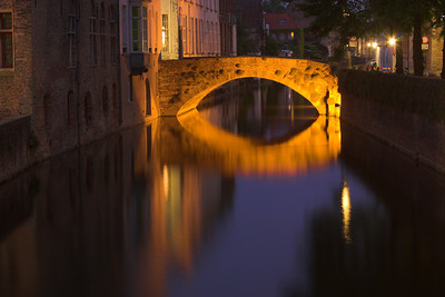 Nightime reflections in Bruges (Belgium)