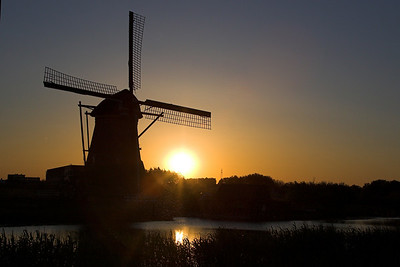 Sunset at the Kinderdijk World Heritage site