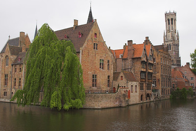 Midieval buildings along the canals of Bruges (Belgium)