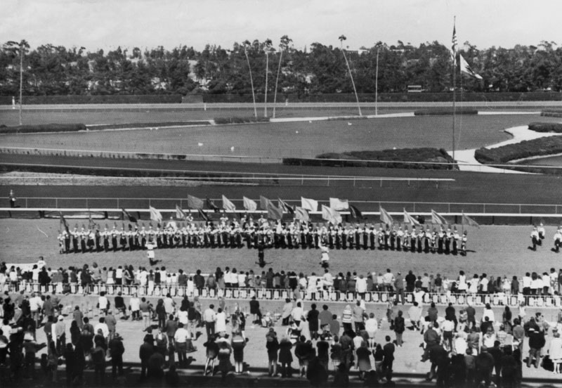. Los Angeles Chinese Drum and Bugle Corps performing at Hollywood Park Racetrack on Opening Day in 1971.   (Los Angeles Public Library)