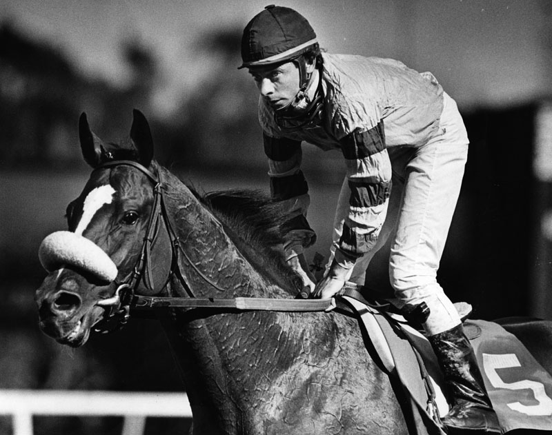 . On his first day back after winning the Derby, Chris McCarron finished second aboard Sabona in the seventh at Hollywood Park. McCarron is shown returning to the paddock area after his race. Photo dated: May 3, 1987.   (Los Angeles Public Library)