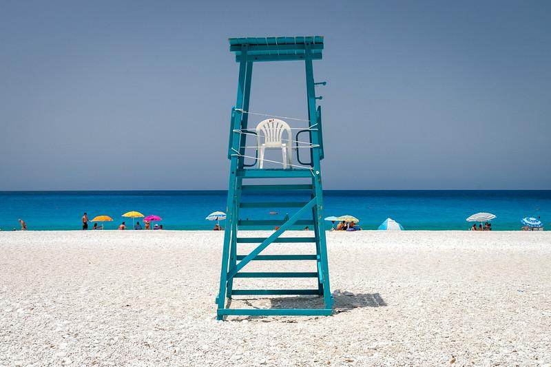Lifeguard tower, Myrtos beach, Kefalonia, Greece, 2008