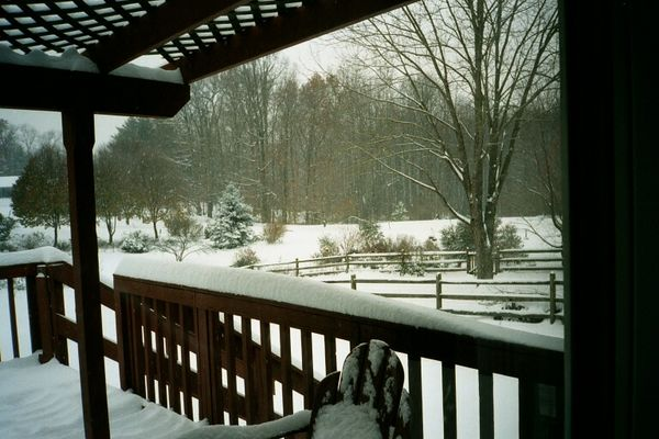 Backporch & yard in snow, 2002-2003 winter
