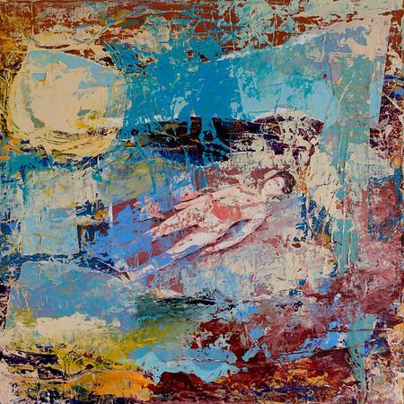"""Floating Mother"" acrylic, photograph, & texture medium on canvas 12"" x 12"""