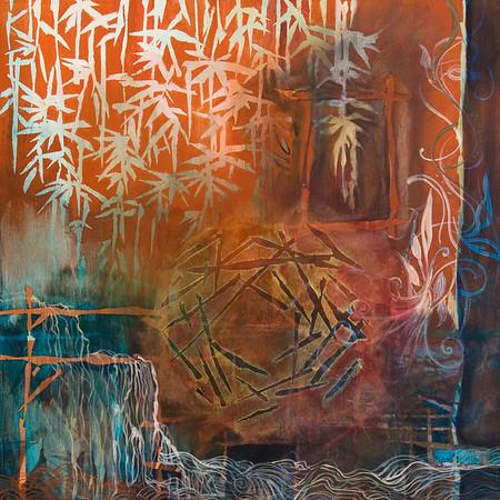 """""""Hanging Gardens"""" acrylic on wood 24"""" x 24"""""""