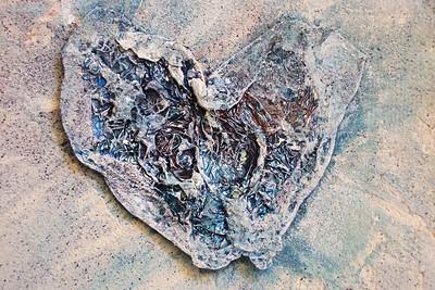 """Untitled"" (close-up) aluminum foil, sand, & acrylic on canvas 5"" x 5"""