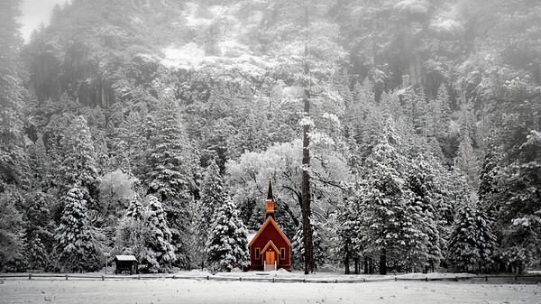 Yosemite Chapel On A Winter's Morning