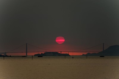 """San Francisco Bay Area Sunset after a Fire"""