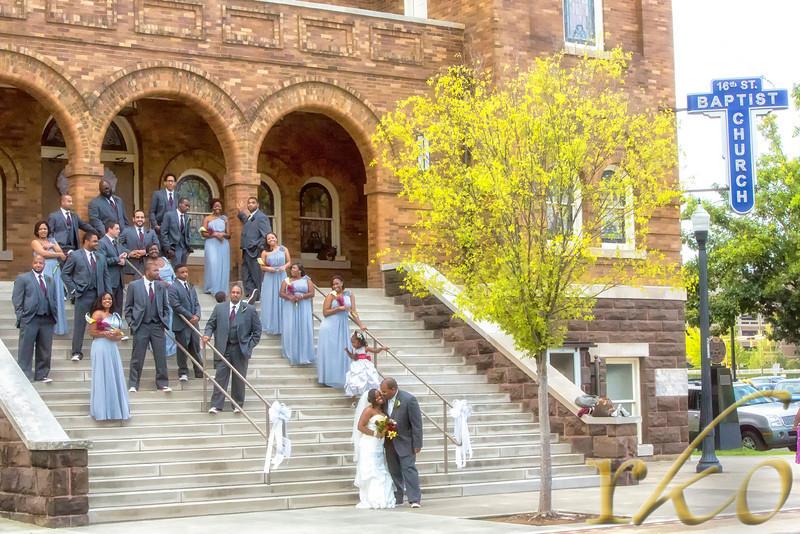 Kre & Jay Wedding Photo outside 16th Baptist Church, Birmingham, Alabama