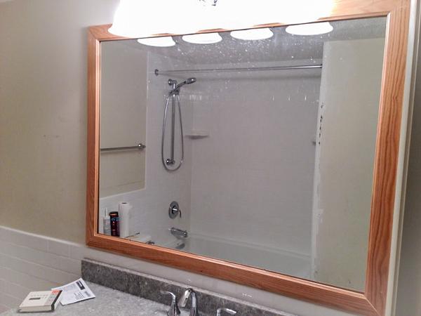 2018-03-05 Hall Bath.  Window framed and vanity backsplash installed.