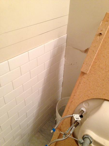 2018-02-28 (Day 12): Hall Bath. Subway tile wainscot along back wall.